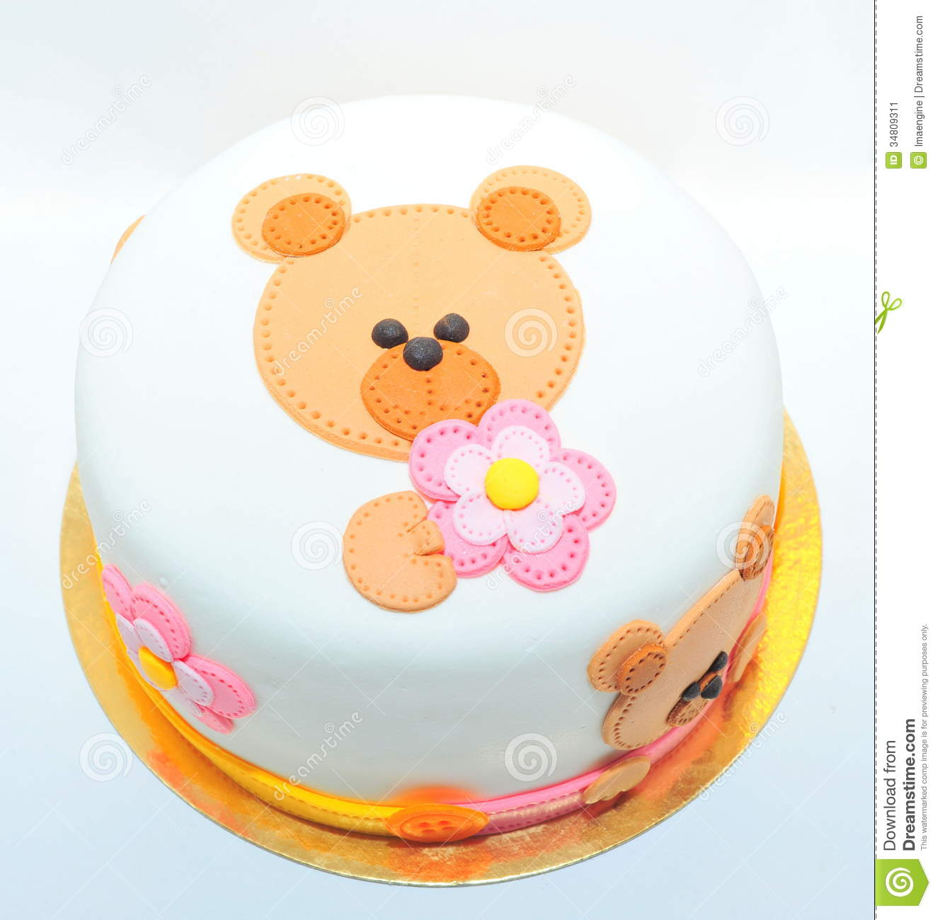 Girls Birthday Cake With A Fondant Teddy Bear Stock Image - Image ...