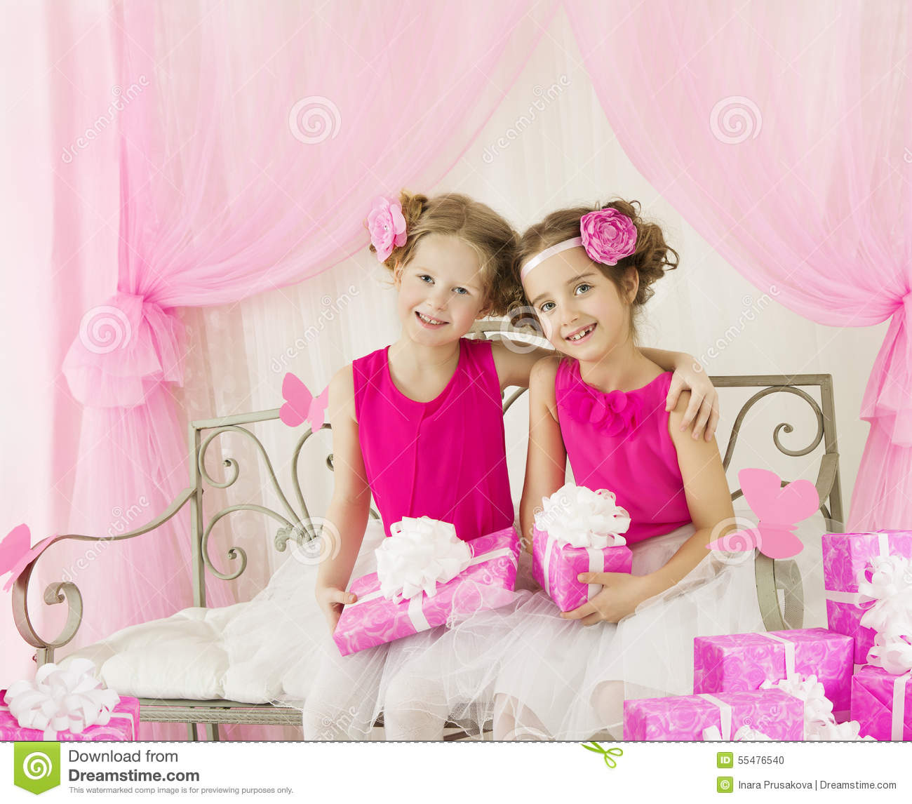 Girls Kids Getting Out Money From Saving Pig Stock Photo