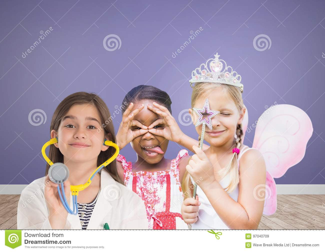 3 girls with blank room purple background