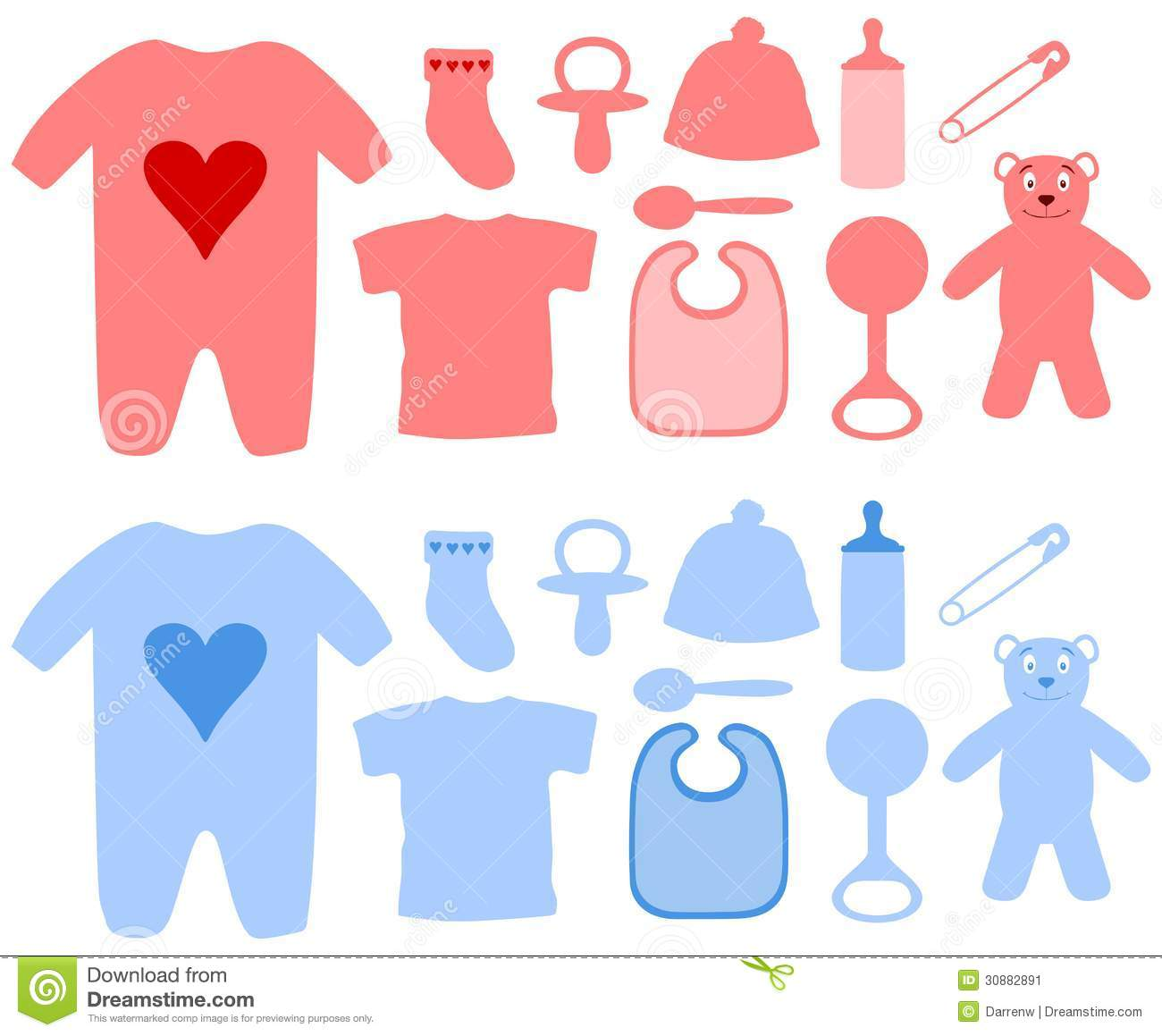 Girls And Boys Baby Items Stock Image - Image: 30882891