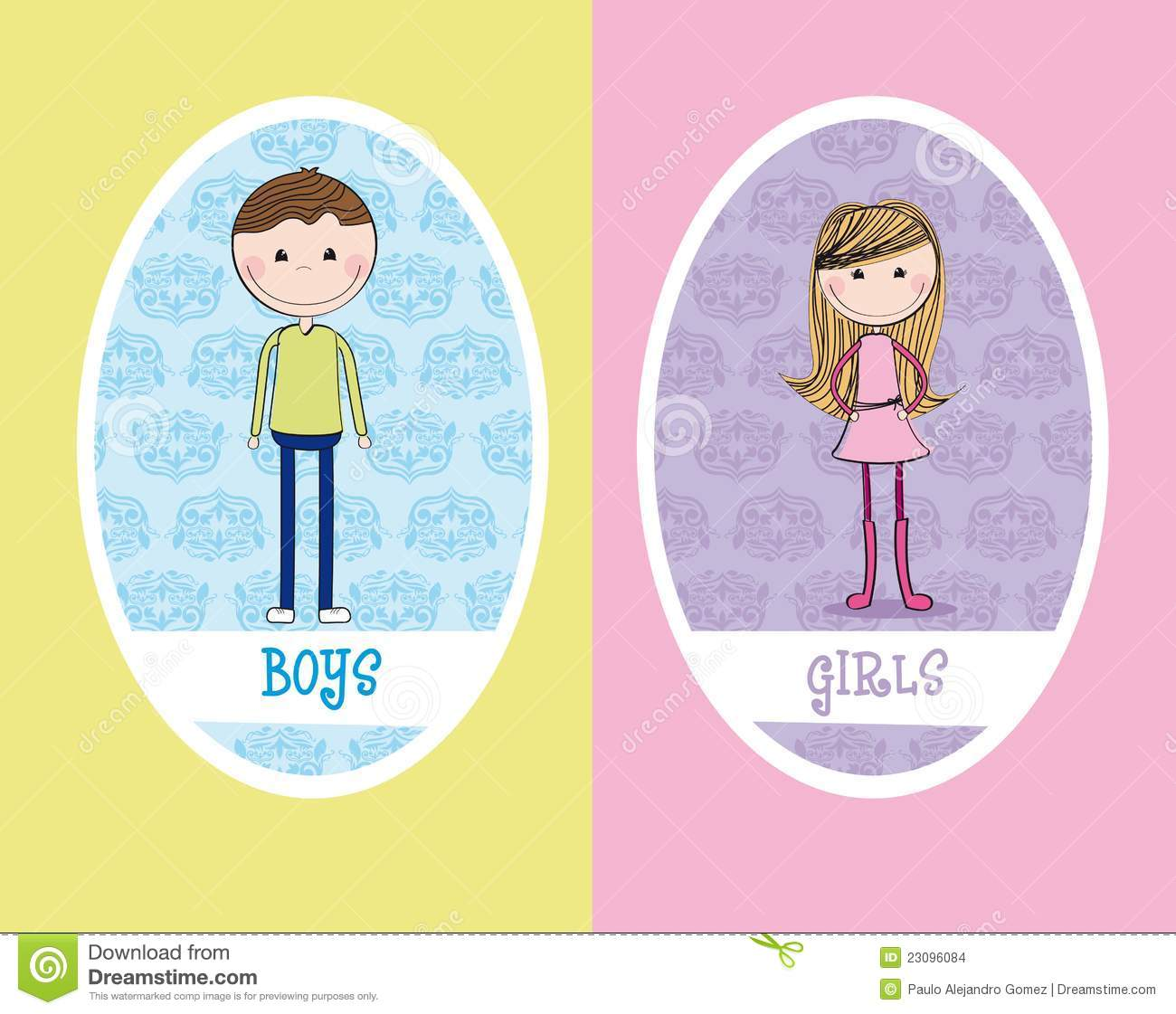 girls and boys sign stock illustration illustration of isolated
