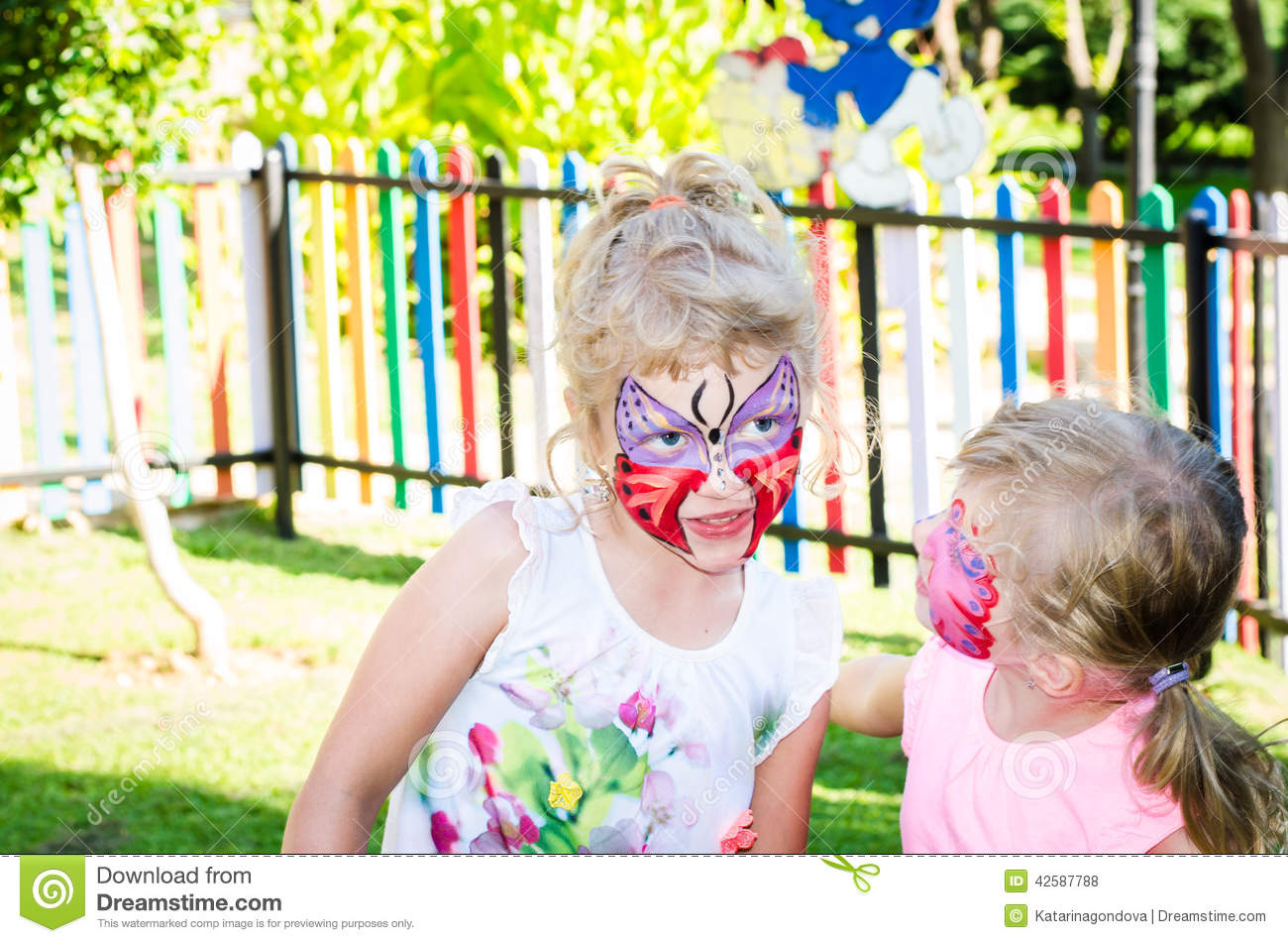 Girls with butterfly face painting