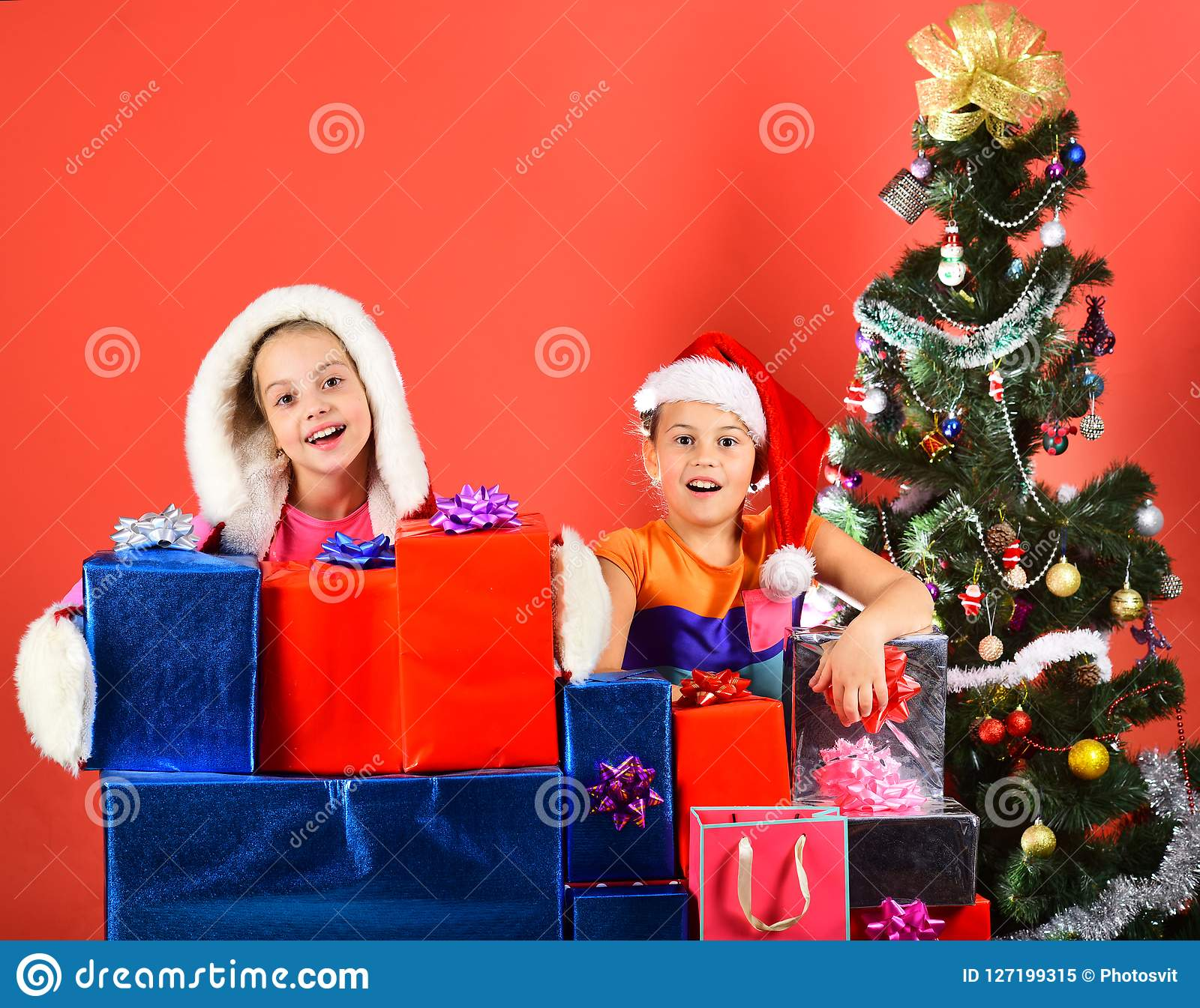 Girls celebrate New Year. Partying and holiday concept.