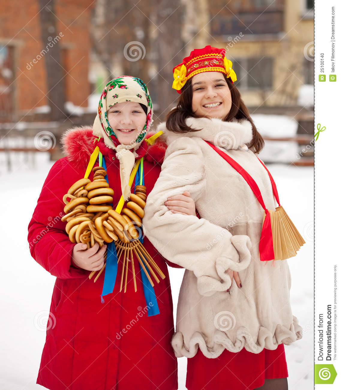 Girls celebrating Maslenitsa festival