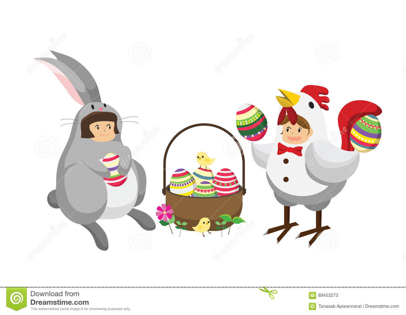 Cartoon Rabbit And Chicken Character Cartoon Vector
