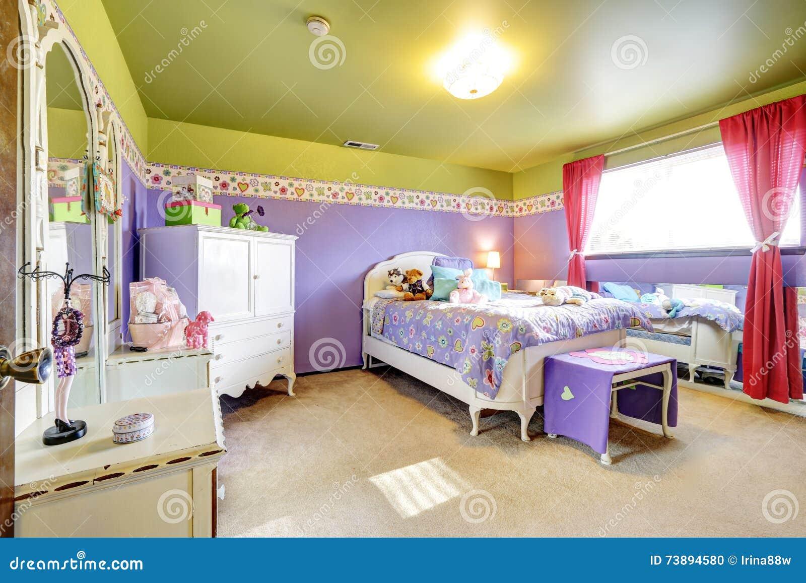 Girls Children Purple And Green Bedroom With Mirror Stock ...
