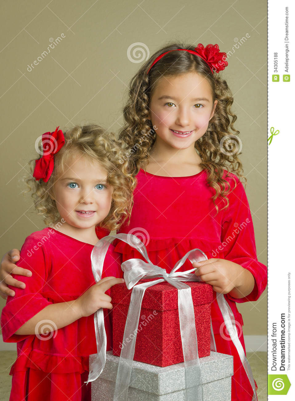 girls with christmas holiday presents