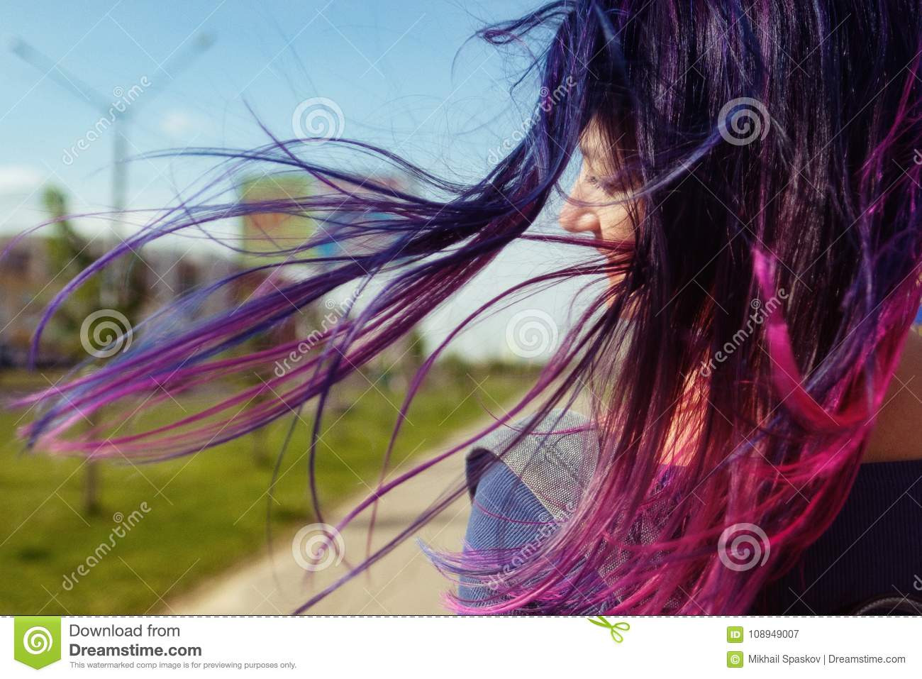 Colored Blue And Pink Hair Girl In The Wind Back View Stock Image