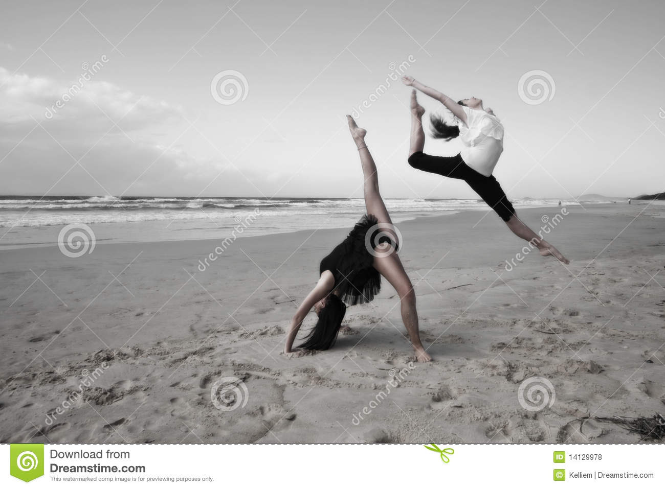 Girls dancing on beach