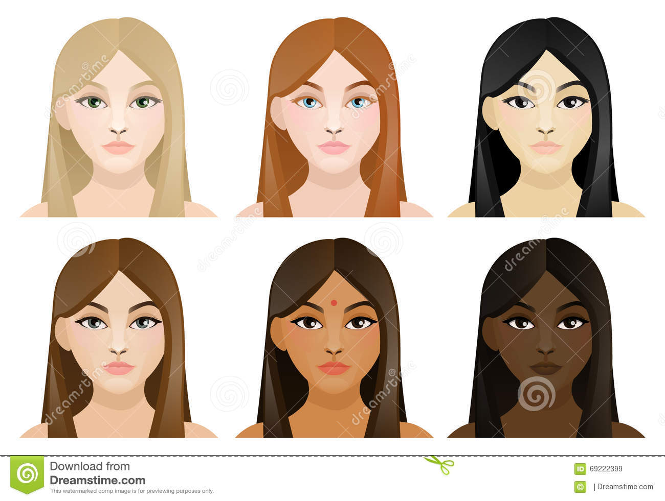 girls with different color hair and skin stock vector image 69222399. Black Bedroom Furniture Sets. Home Design Ideas