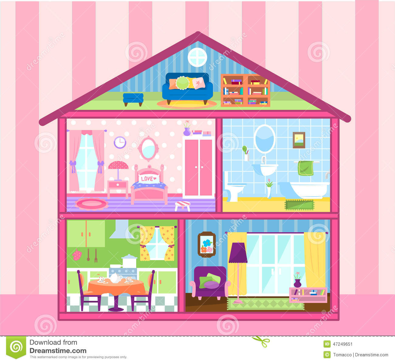 Doll House Stock Illustrations – 1,045 Doll House Stock ...