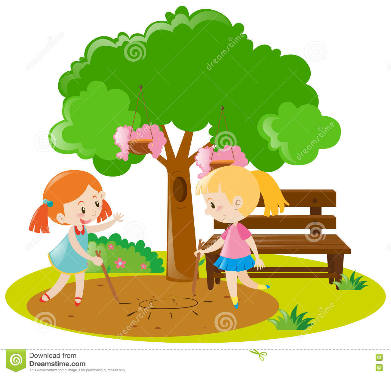 Playing garden drawing for kids - Drawing Illustration Path Object Pupil Children