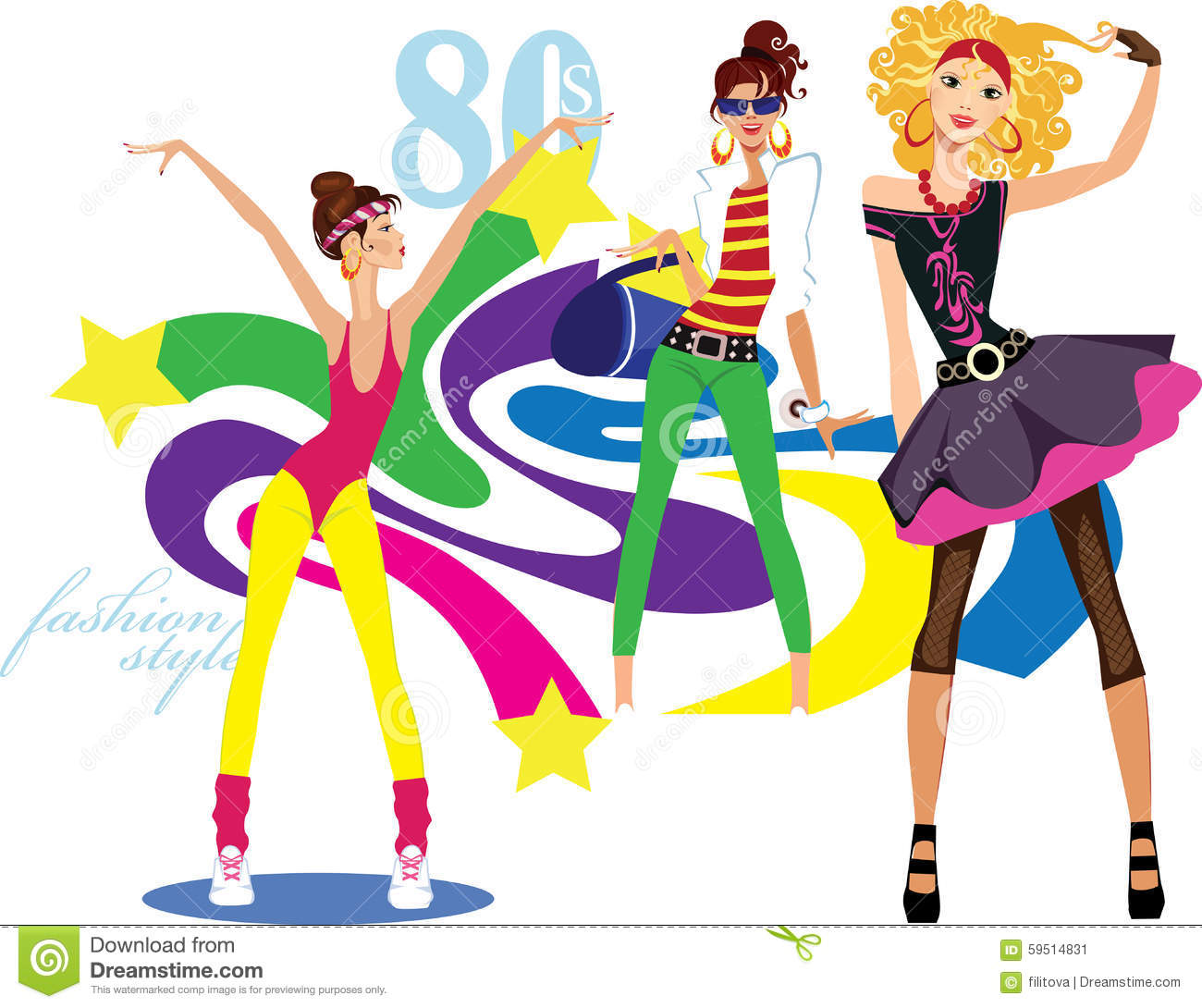 Girls Dressed In The Style Of Disco Style Stock Vector