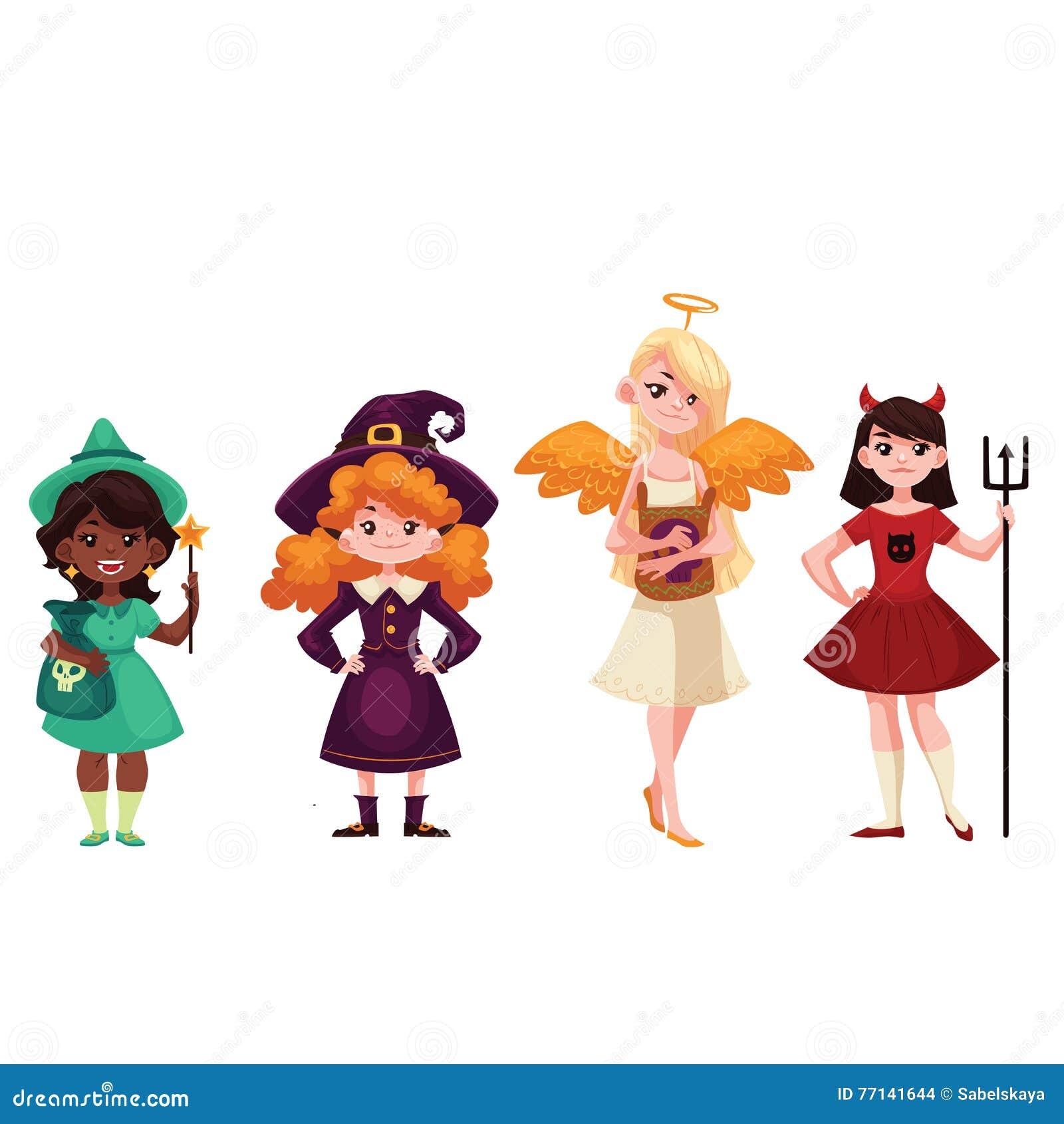Girls dressed in Witch angel demon leprechaun costumes for Halloween