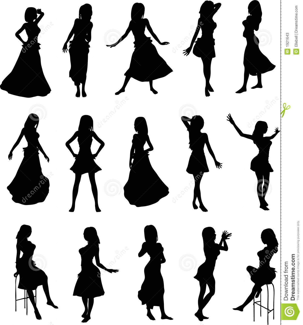 Girls In Dresses Silhouettes Stock Vector