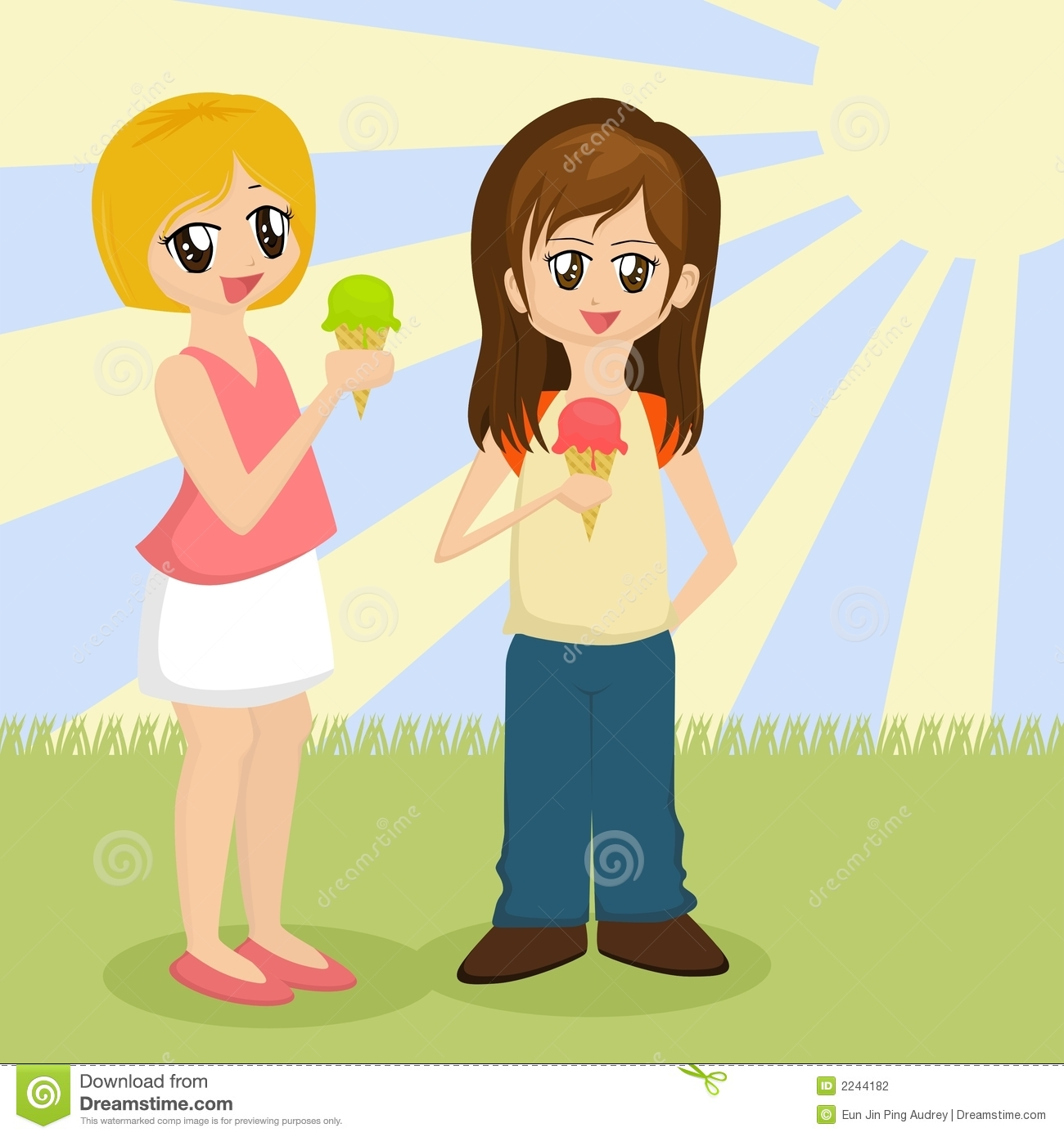 Two Girls Eating Ice Cream On A Hot And Sunny Day
