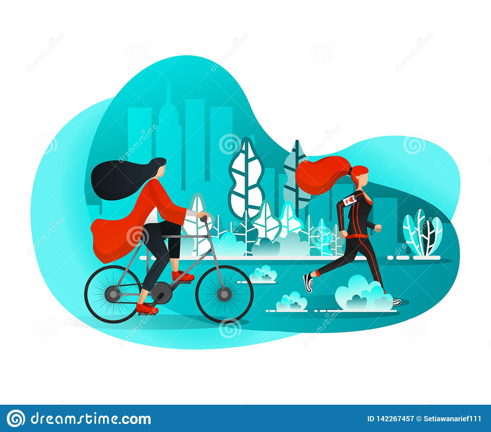 Girls Enjoying Leisure on Summer Mornings With Sports Activities in City Central Park such Running & Biking. Flat Cartoon Style. V