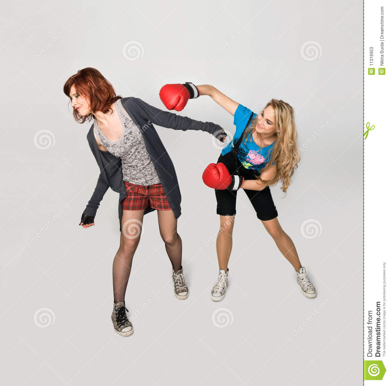 Woman pretty girls fighting weird