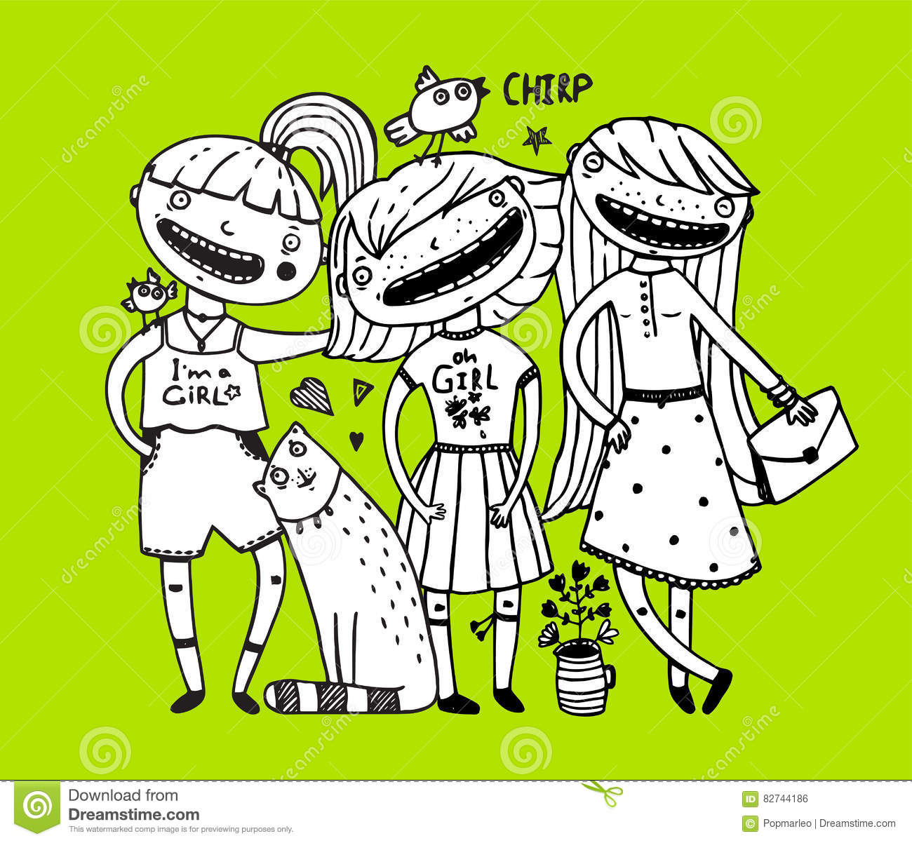 Girls friends and cat design outline girlish style