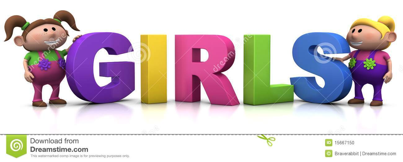 Girls With G I R L S Letters Stock Illustration