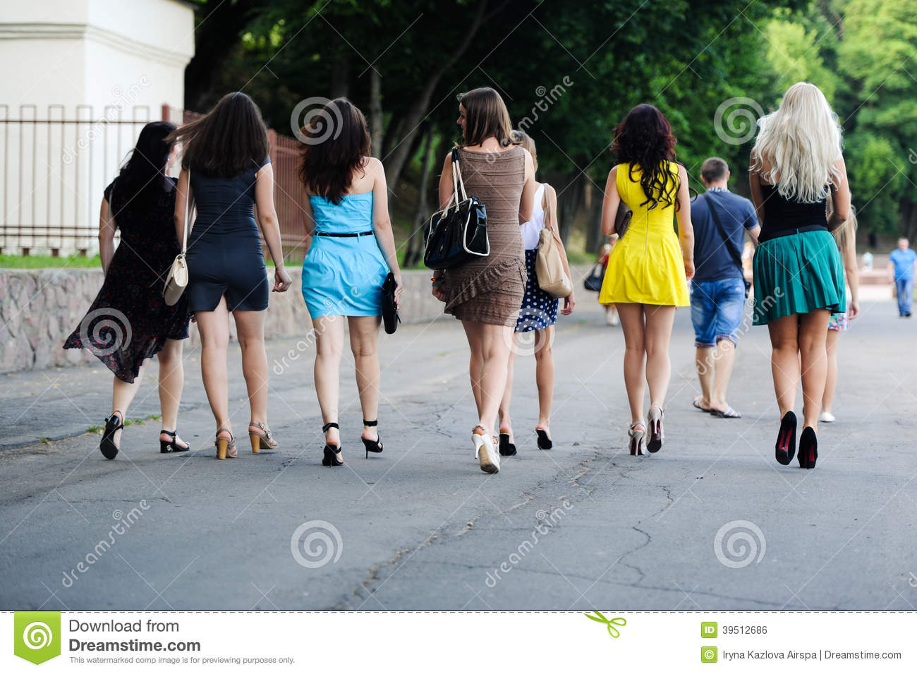 Girls go down the street