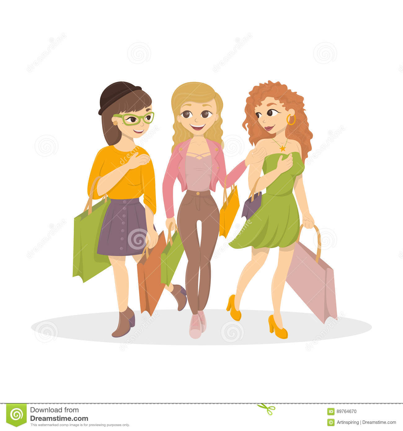 a37ffde32 Girls go for shopping. stock vector. Illustration of isolated - 89764670