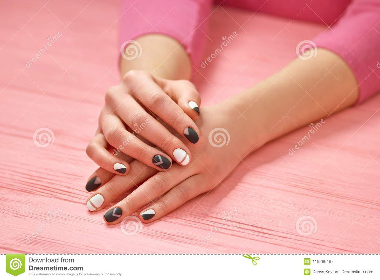 Girls Hands With Creative Nails Design Stock Image Image Of