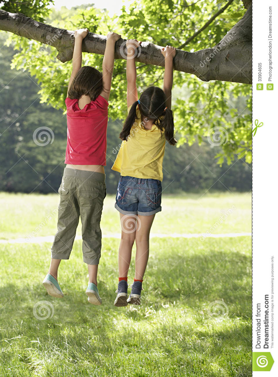 Hanging-Girl Girls Hanging From Tree Branch Royalty Free Stock Photo ...