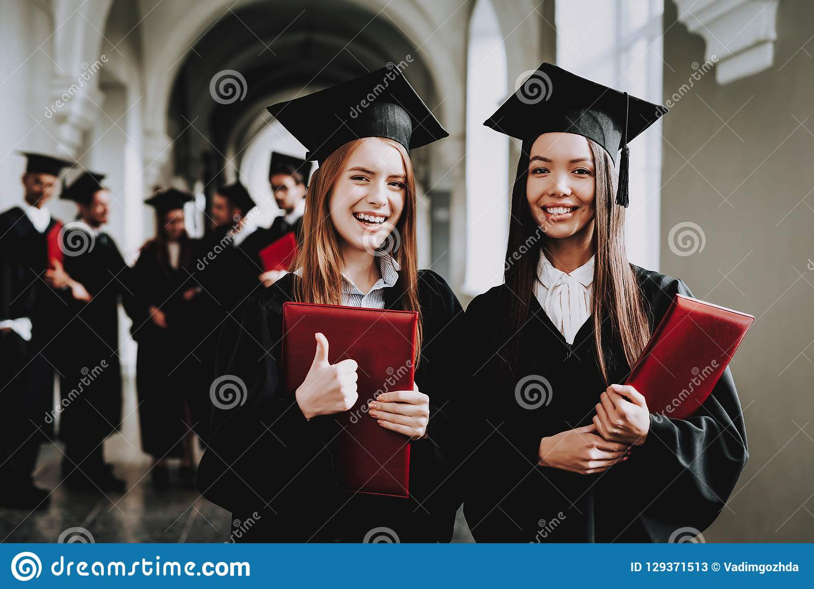 Girls. Happiness. Intelligence. Diploma. Standing.