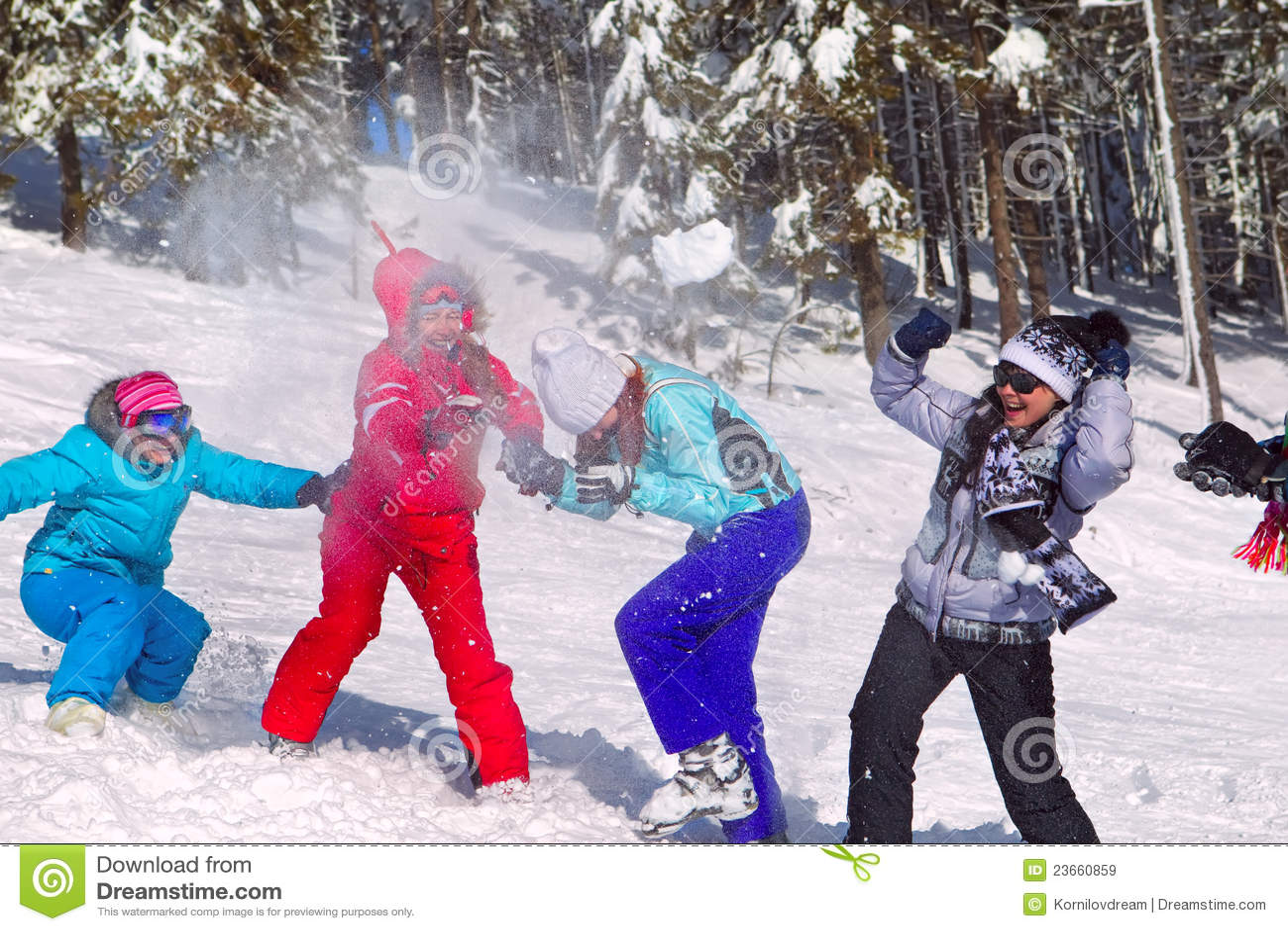 Girls Having Snowball Fight Royalty