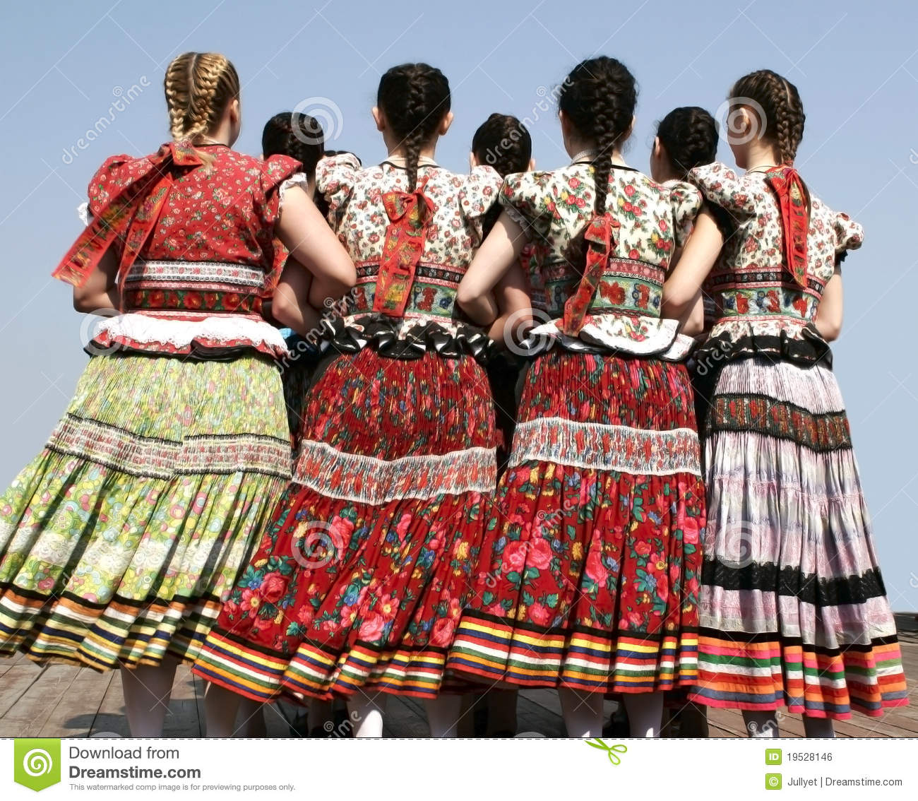 Traditional: Girls In Hungarian Traditional Clothing, Hungary Editorial