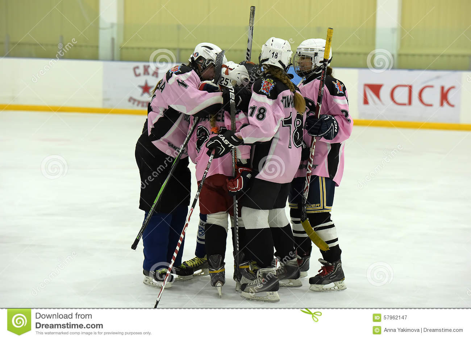 Girls ice hockey match