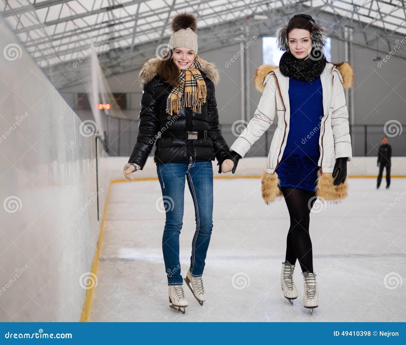 girls on iceskating rink stock photo image of positive