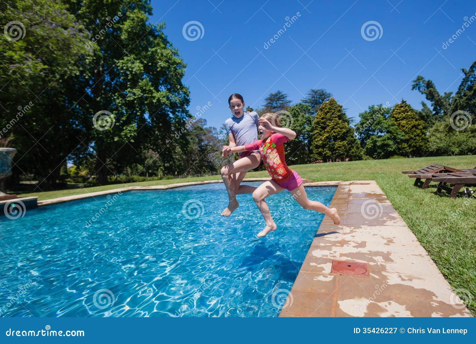 Girls Jumping Swimming Pool Stock Image Image 35426227