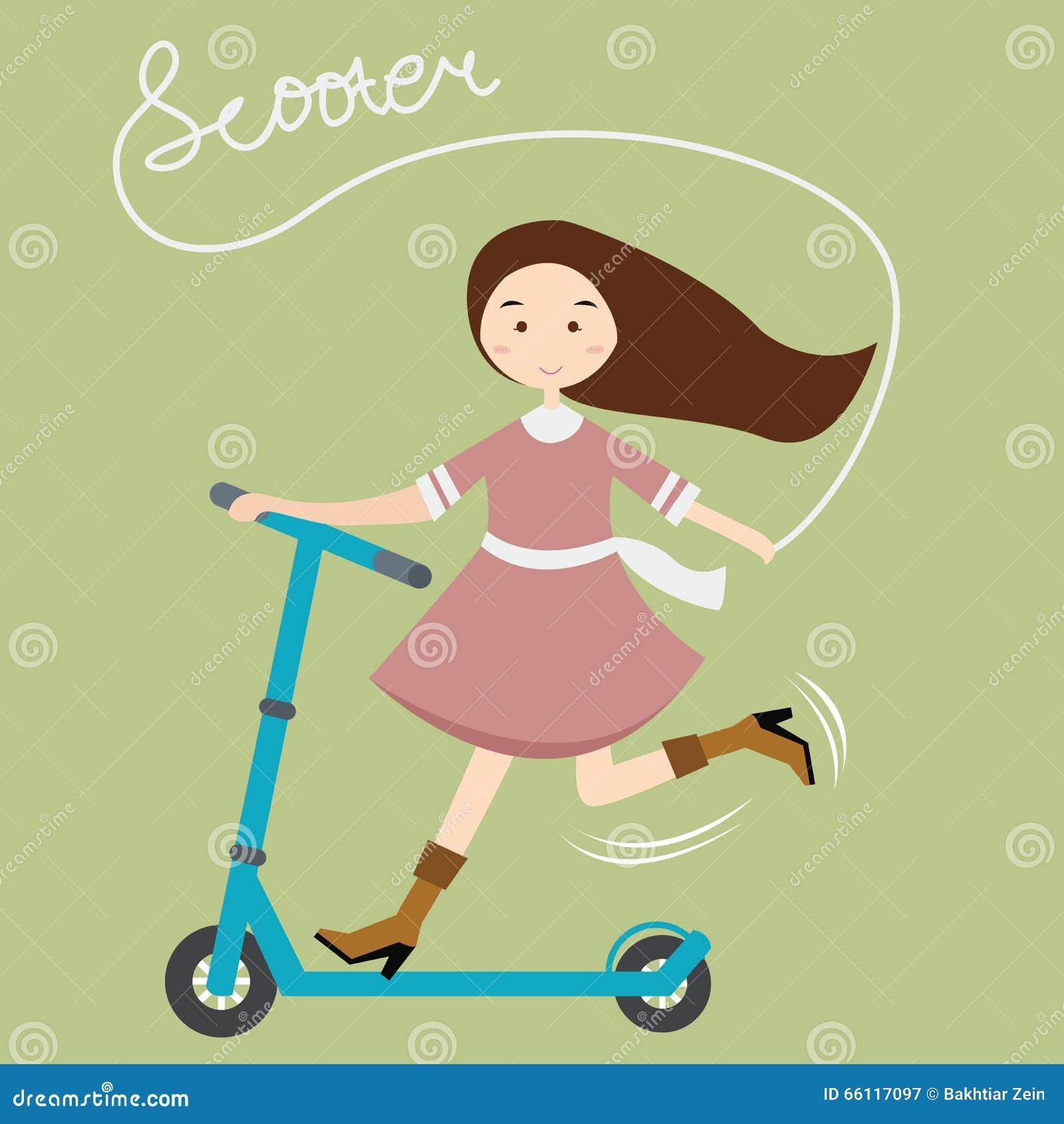 Girls kids female having fun riding scooter happy child active beautiful