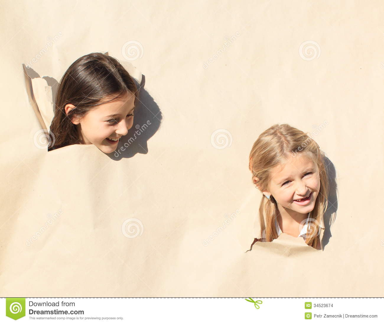 Girls Looking Thru Holes Stock Photo Image Of Hole, Paper - 34523674-4771