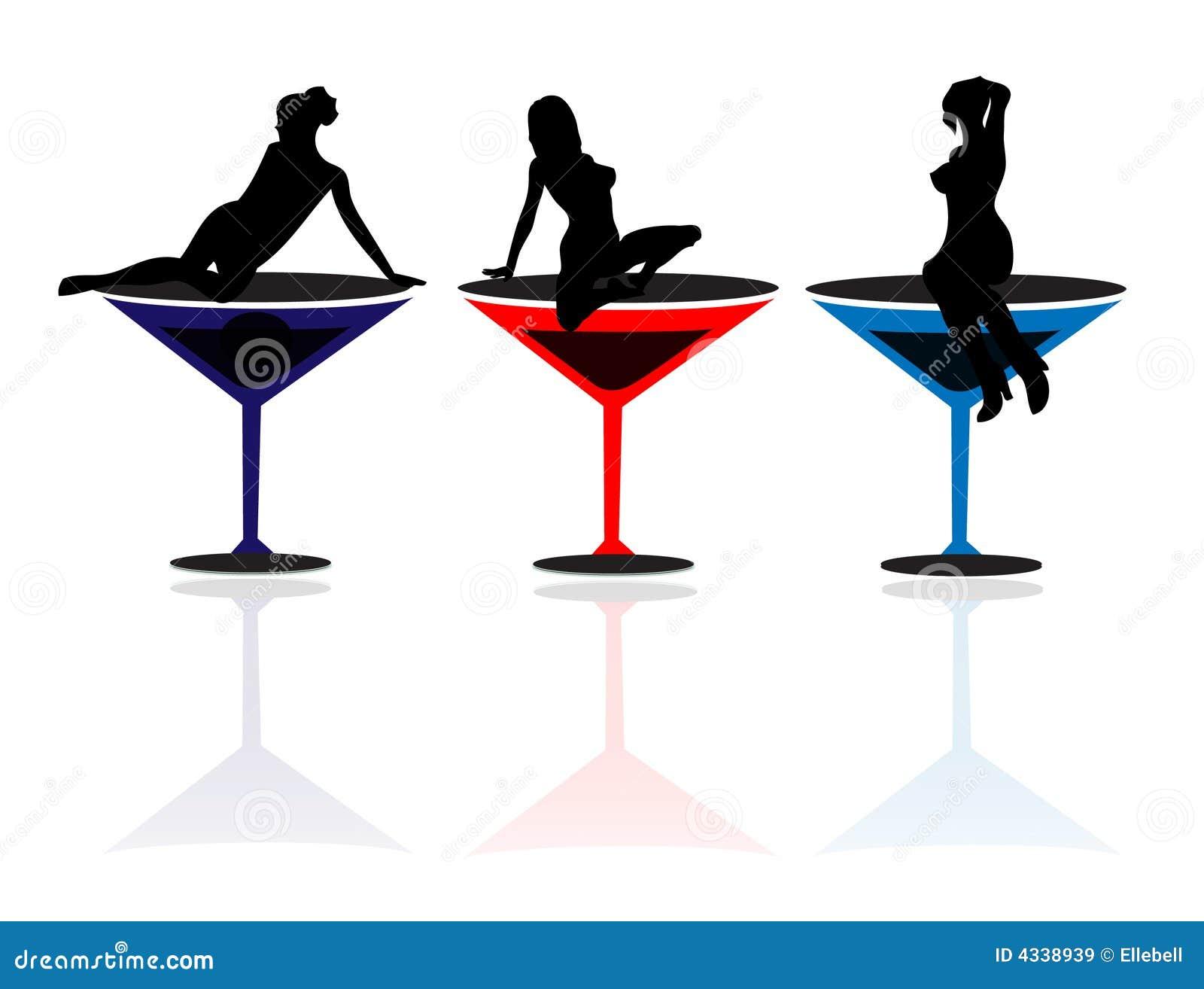 girls and martini glasses stock illustration illustration of three rh dreamstime com Lady in Martini Glass Clip Art Two Martini Glass Clip Art