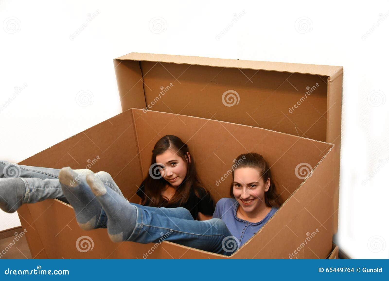 Girls in moving box