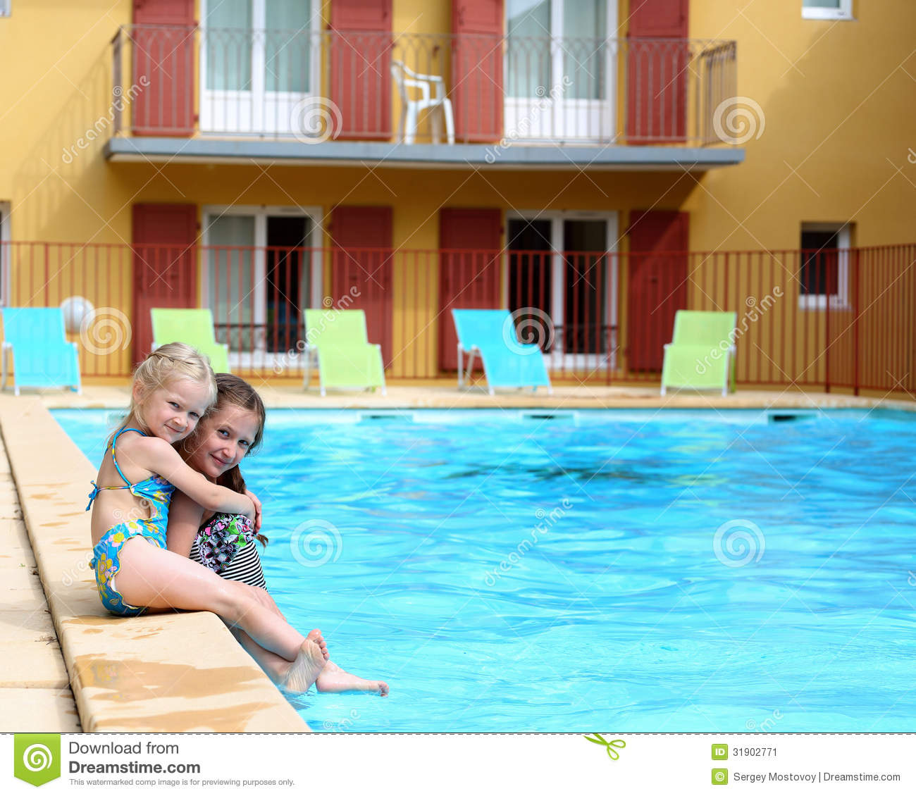 Girls Near The Open Air Swimming Pool Stock Image Image 31902771