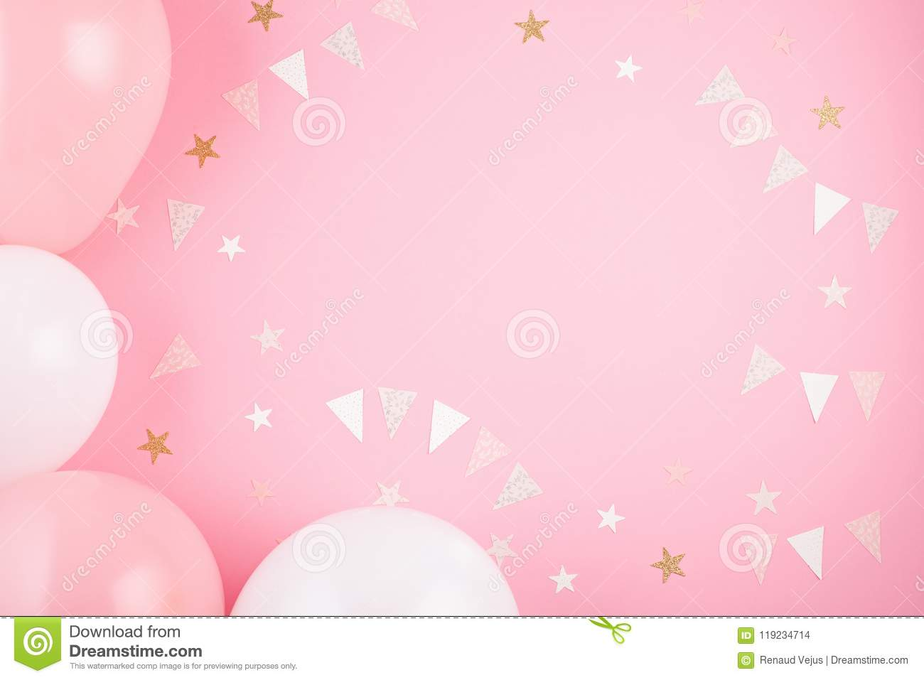 Girls Party Accessories Over The Pink Background