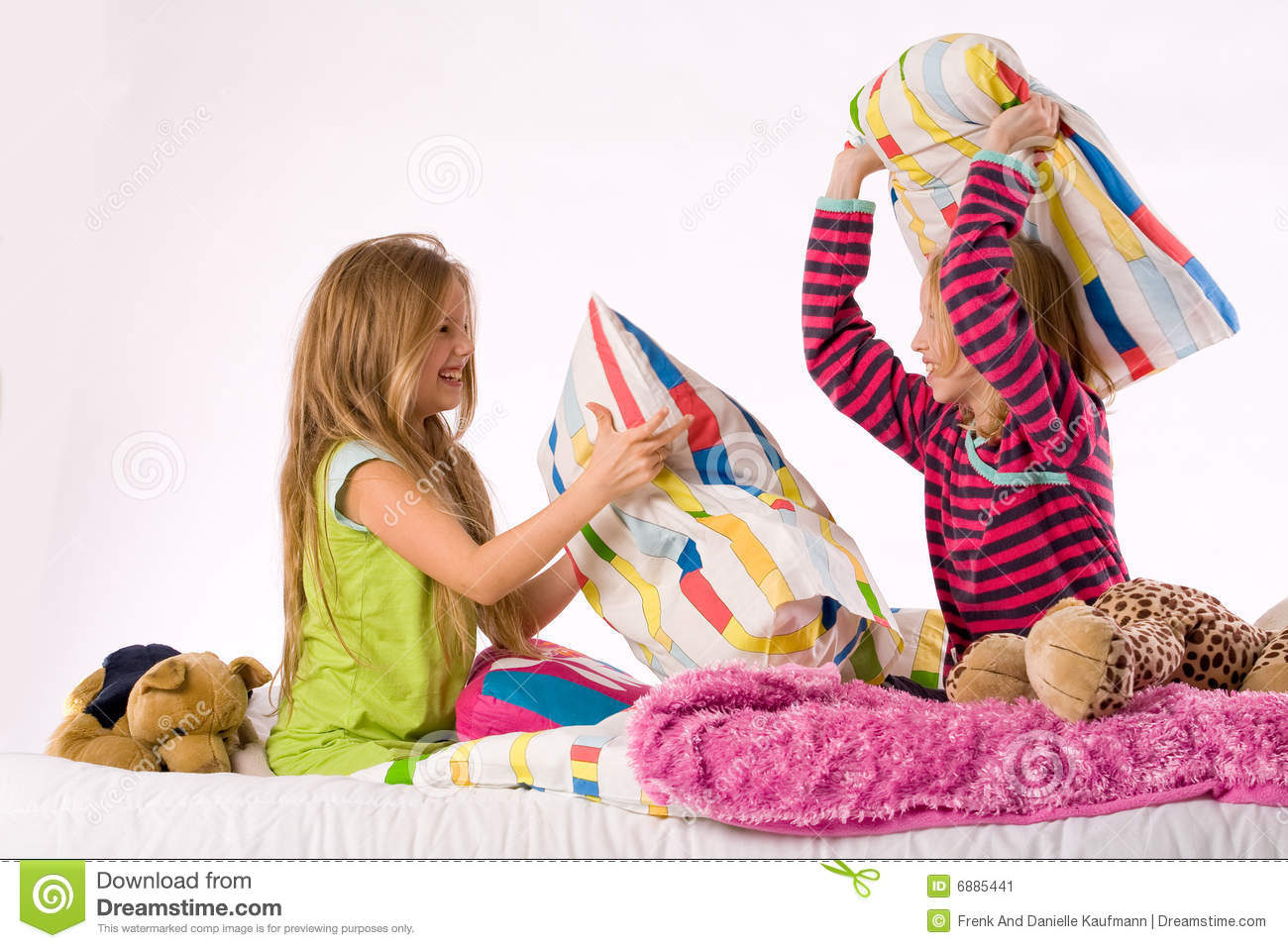 The Girls Pillow Fight Stock Image - Image: 6885441