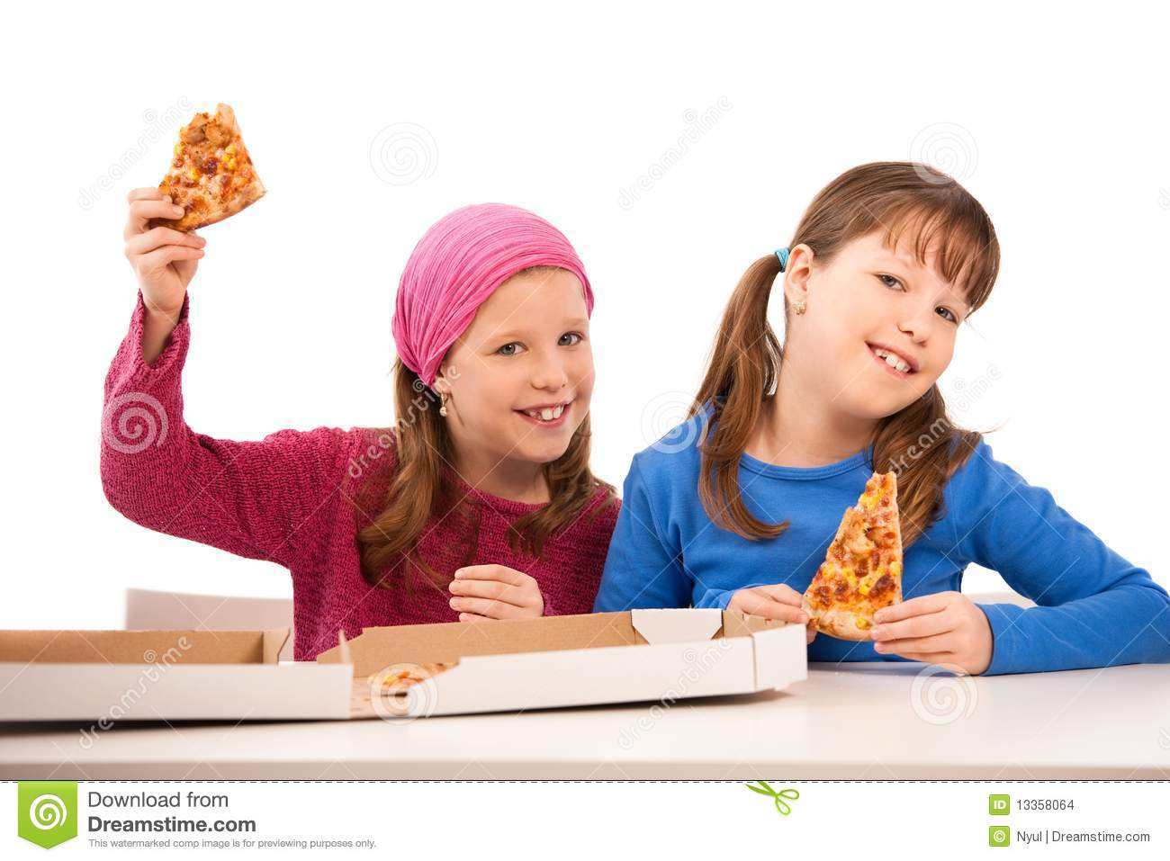 Girls with pizza
