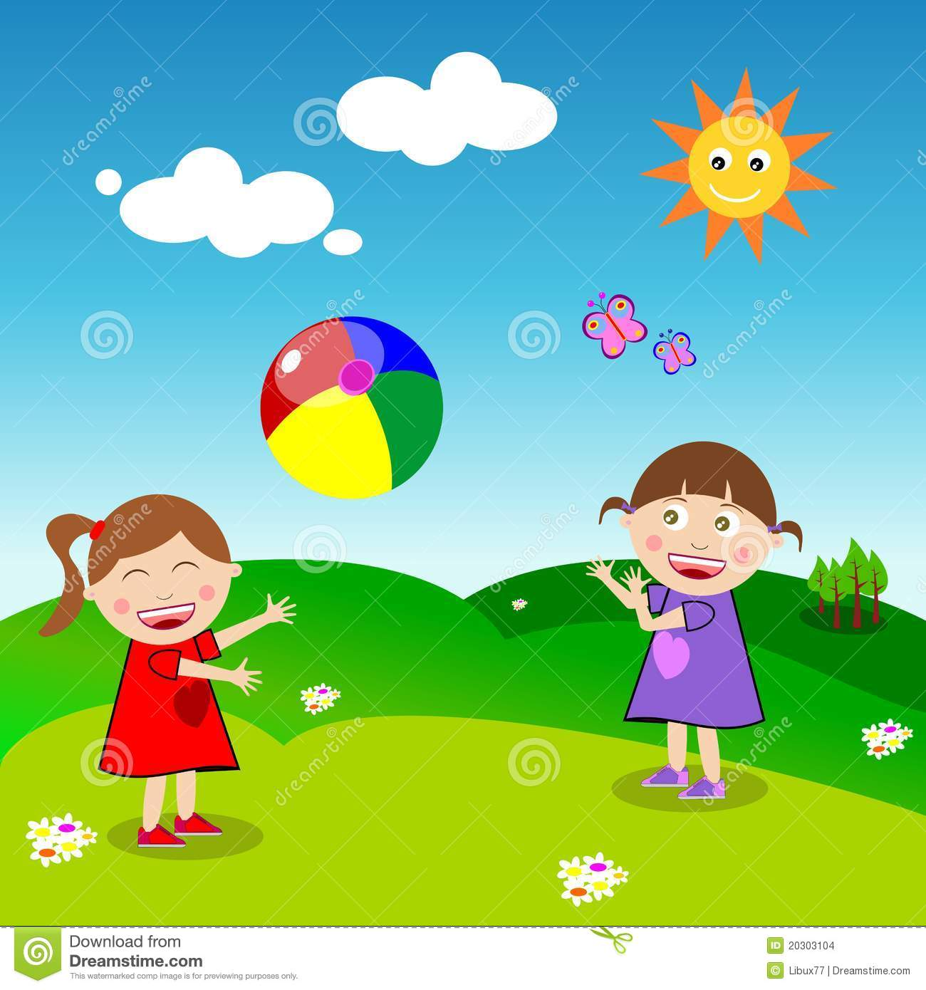Girls Playing Ball Stock Vector Image Of Daisy Butterfly
