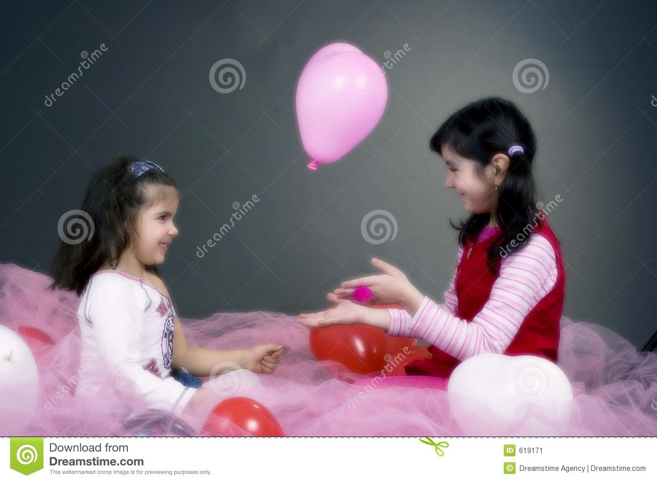 Girls Playing With Balloons Stock Image Image 619171