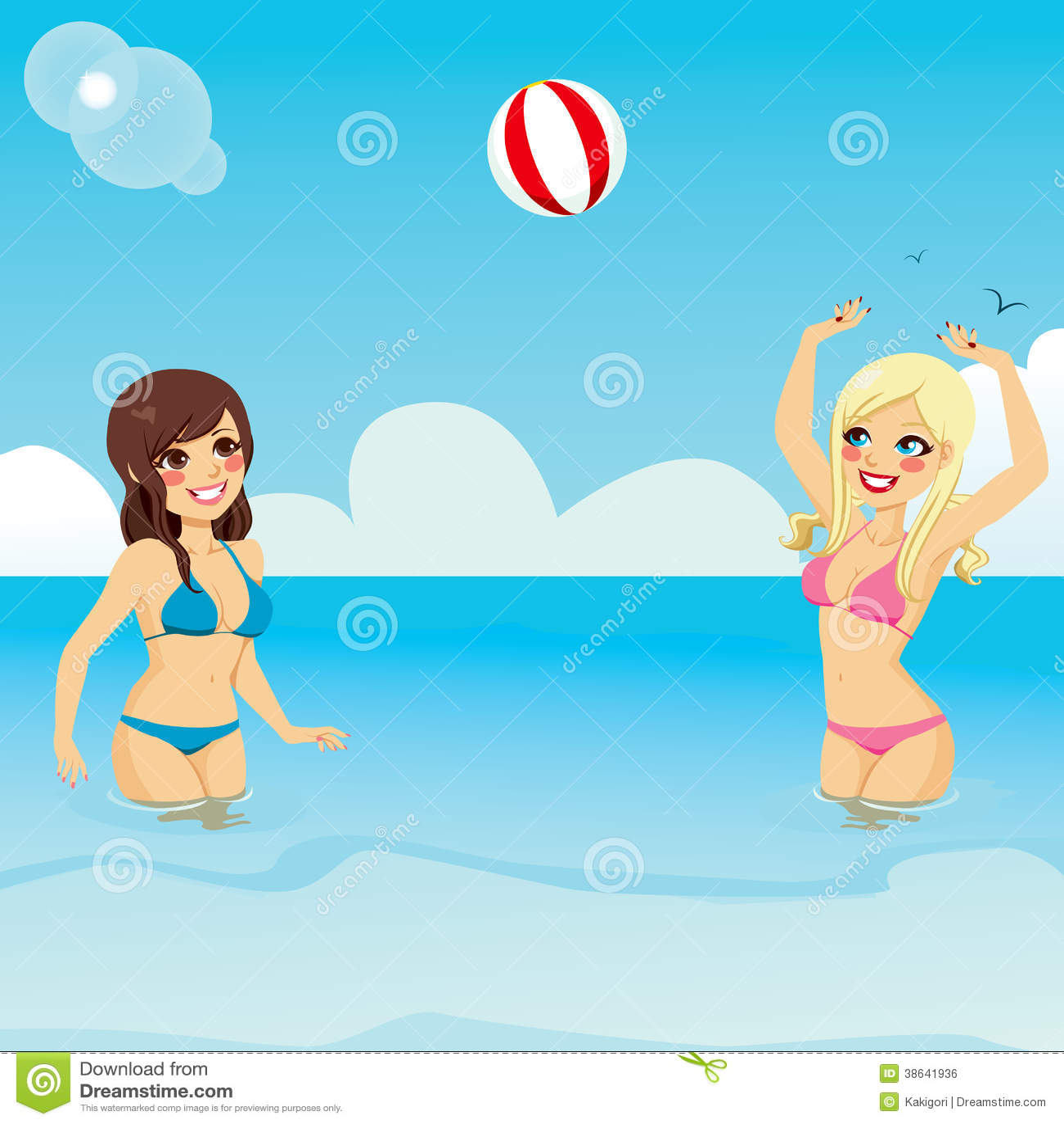 Woman With Beautiful Body In Bikini At Beach Stock Image: Girls Playing Beach Ball Stock Vector. Illustration Of