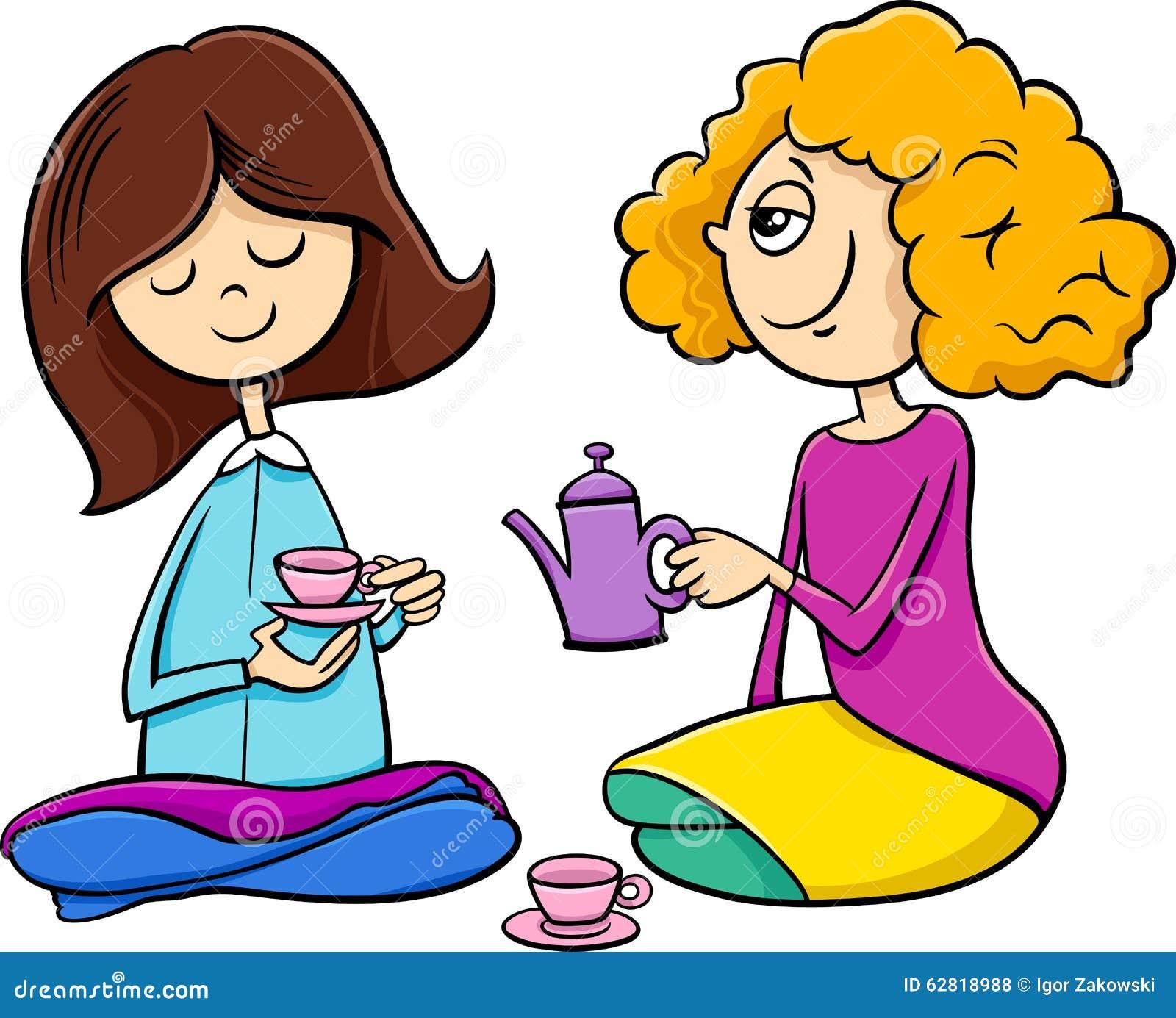 Girls Playing House Cartoon Stock Vector Image 62818988