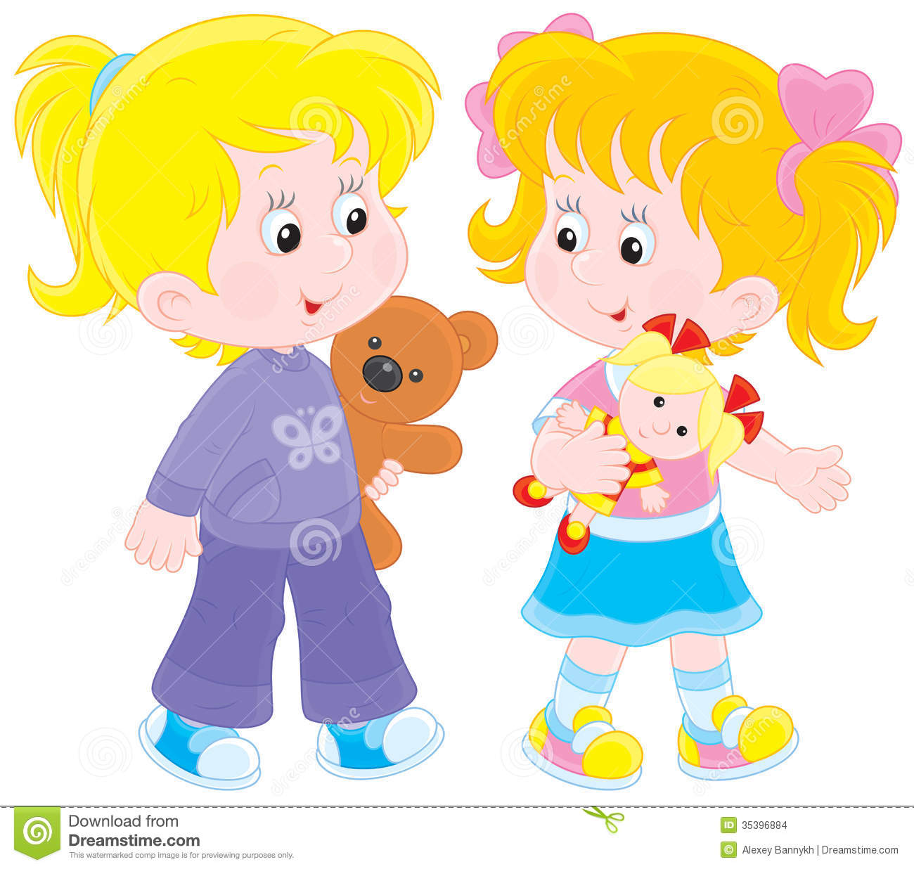 Girls playing stock vector. Image of art, childly ... Playing With Dolls Clip Art
