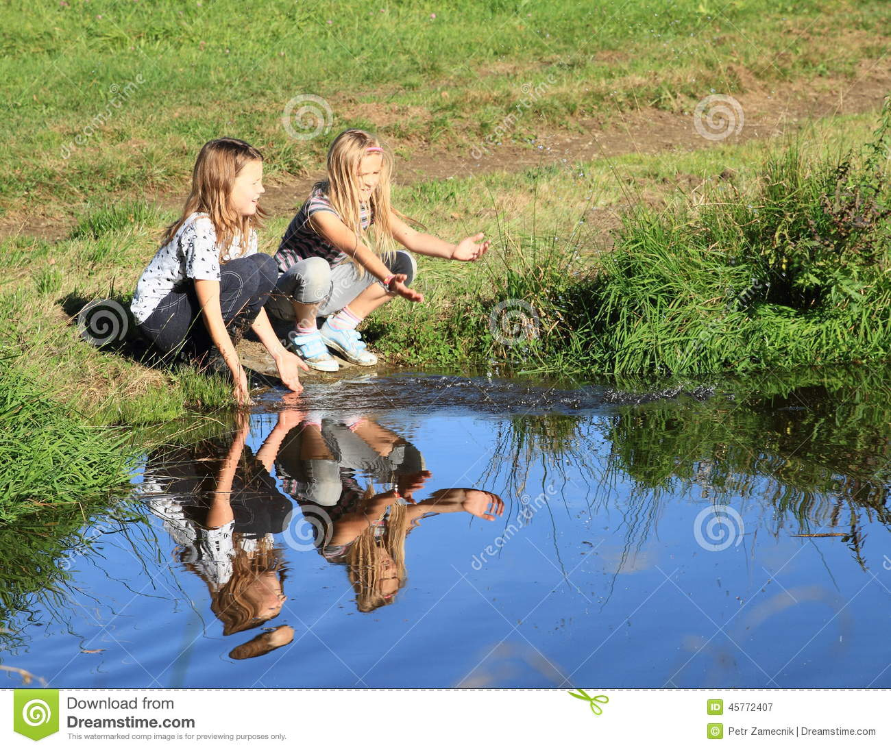 Girls Playing With The Water Stock Photo Image 45772407