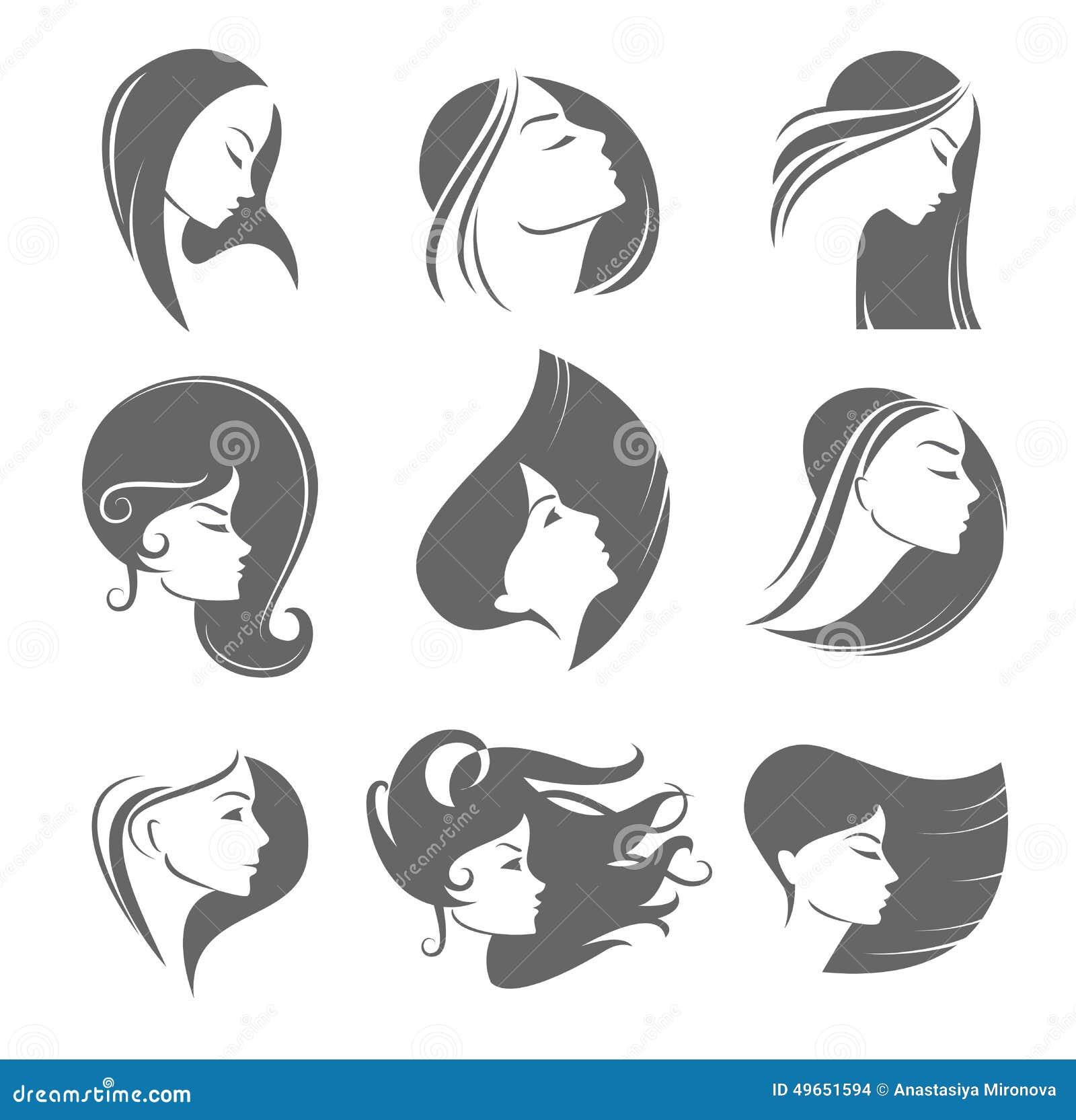 Girls Portrait Vector Silhouette Icon Stock Vector