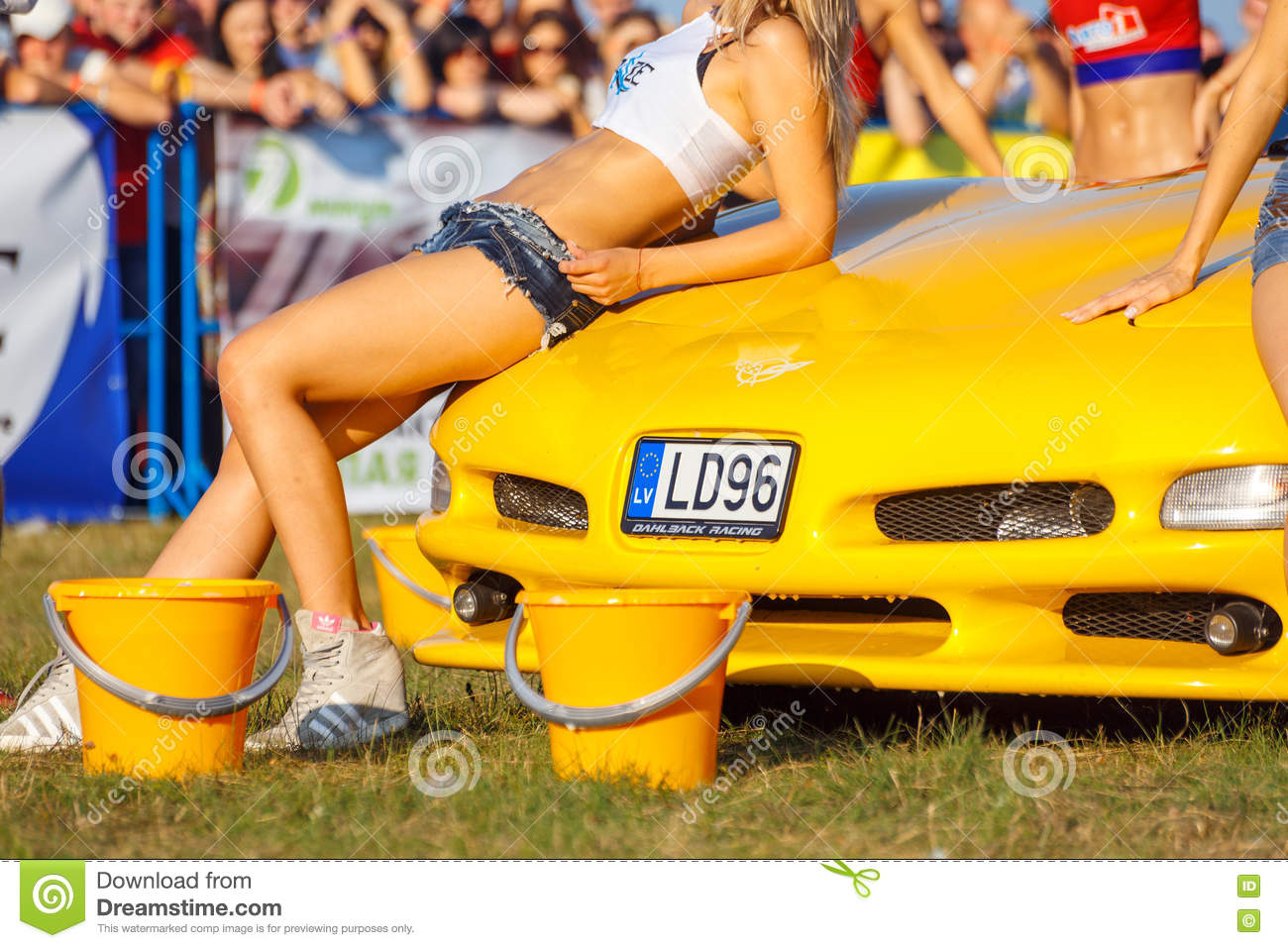 Girls Posing On Sport Car Editorial Stock Image Image Of Lights